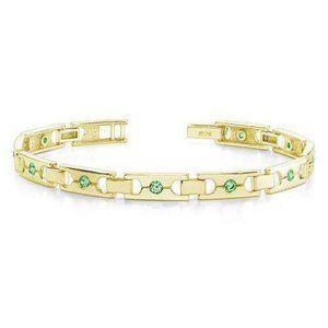 2.50 Ct Round Cut Emeralds Single Buckle Link Brac